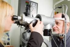 elderly man eye exam