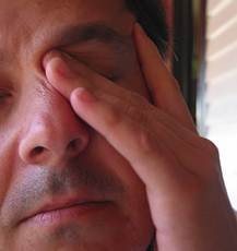 man dry eyes