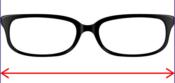 total frame width for glasses