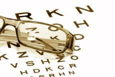 glasses on snellen chart