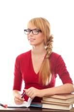 girl with glasses and books