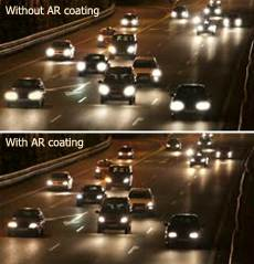 traffic at night with and without antireflective coating on glasses