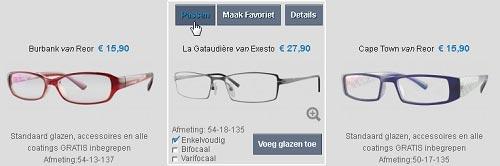 Knop om te passen vanuit de brillen gallery